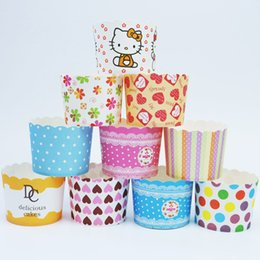 Wholesale Big Baking Cups - Wholesale- Big size 50pcs bag flowers colorful polka dot pattern Love heart Paper Cupcake Baking Cake Cup Wedding birthday Party cake cup