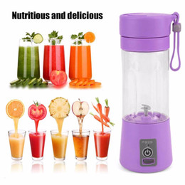 Wholesale Wholesale Smoothie Cups - Wholesale- Portable 380ml USB Electric Fruit Juicer Handheld Smoothie Maker Blender Rechargeable Mini Portable Juice Cup Water Bottle