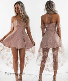 Robes mignonnes et tailles en Ligne-2017 Cute Pale Pink Short Homecoming Robe Vintage High Low Lace Juniors Sweet 15 Graduation Cocktail Party Dress Plus Size Custom Made