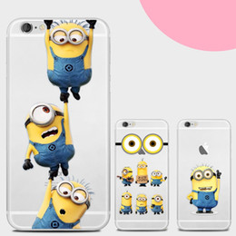 Wholesale Minions Casing - For iphone 7 plus 6s plus Soft TPU transparent Case Minions Painting protector silicon cartoon Cell Phone Cases