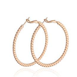 Wholesale Twisted Gold Plated Hoop Earrings - Allergic Free 18K Yellow White Rose Gold Plated Twist Earrings Hoops Huggie for Girls Women Earring Studs Fashion Jewelry