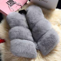 Wholesale Faux Fur Vests For Women - New 2017 Winter Women's Thick Warm Faux Fox Fur Vest High Quality Fashion O-Neck Short Fur Coat For Women Outwear