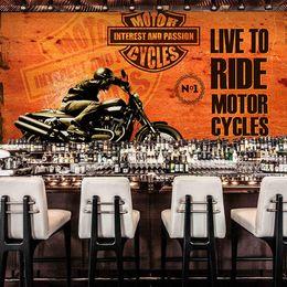 Wholesale American Flag Wood - Wholesale-Custom vintage metal large American flag Harley motorcycle wallpaper mural painting living room bedroom wallpaper TV backdrop