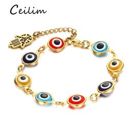 Wholesale Turkish Chains Gold - High quality stainless steel bracelets jewelry gold plating turkish lucky eye bracelet with fatima hamsa hand charms 2017 fashion gifts