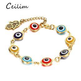 Wholesale turkish eye bracelet gold - High quality stainless steel bracelets jewelry gold plating turkish lucky eye bracelet with fatima hamsa hand charms 2017 fashion gifts