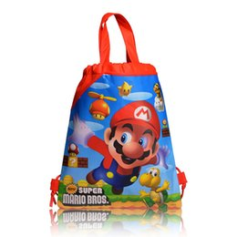 Wholesale Wholesale Mario Bros Birthday - 48pcs Cartoon Super Mario bros Backpack Non-Woven Fabric Drawstring Bag Birthday Theme Gift Bags Draw string Shopping, Storage Bag