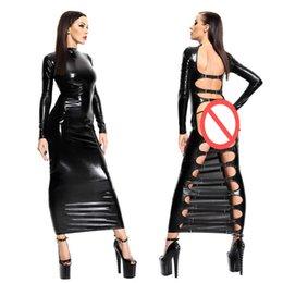 Vestido clubwear abierto online-Vestido largo de imitación de cuero negro Mujeres Sexy Bondage Clubwear espalda abierta ahueca hacia fuera el vestido Pole Dance Wear