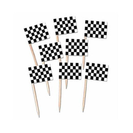 Wholesale Cocktail Party Food - Mini Racing Flag Paper Food Picks Dinner Cake Toothpicks Cupcake Decoration Fruit Cocktail Sticks Party Supplies