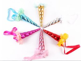 Wholesale Golden Unicorn - NEW children's Unicorn headbands with golden horned party animal headbands children's flower gauze net headband six colors can choose
