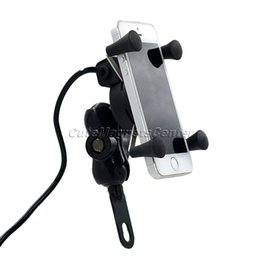 Wholesale Motorbike Phone Holders - Wholesale- car 12V Universal Motorcycle MTB Motorbike Bike Handlebar Mount Stand Holder For Cell Phone Ipod GPS with Rotating USB Charging