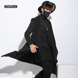 Wholesale Hooded Cloak Trench - Wholesale- Men's Windbreaker Long Coat Punk Hiphop Style Cardigan Hooded Trench Jacket High Quality Male Black Cloak Outwear