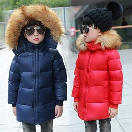 Wholesale Kids White Fur Coat - Children Duck Down Winter Warm Jacket With Fur Baby Boy Girl Solid Overcoat Hooded Winter Jacket Kid Clothing Coat