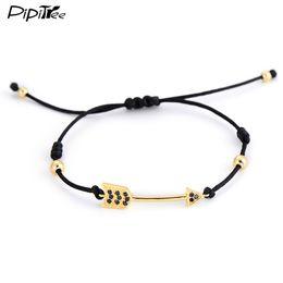 Wholesale Macrame Jewelry - Wholesale- Charm Gold Paved Crystal Arrow Bracelets & Bangles for Women Men Simple 4MM Copper Beads Braiding Macrame Bracelet Brand Jewelry