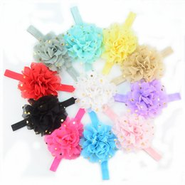 Wholesale Cheap Head Wraps - 26 colors chiffon Flowers Headband Party photo Headband Prom Head wrap cheap Hair Band Accessories PK-