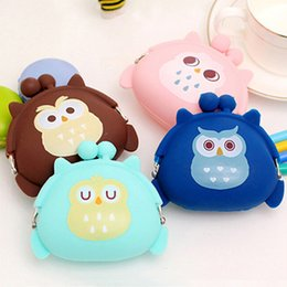 Wholesale cute owl wallets - Wholesale- Girl's Cute Cartoon Owl Silicone Jelly Wallet Change Bag Keys Pouch Coin Purse BVNY