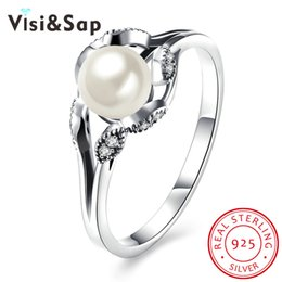 Wholesale Indian Silver Jewellery Set - Visisap Classic closed inlaid oyster pearl 925 sterling silver jewelry for the female anniversary ring luxury wholesale jewellery SVR186