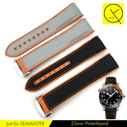 Wholesale Orange Leather Strap - Nylon Watchband Rubber Leather Watchstrap for Omega Planet Ocean 215 600m Man Strap Black Orange Gray 22mm with Tools