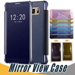 Wholesale Mirror Light Covers - Luxury Mirror PU Leather Case For Samsung S8 Plus Smart View Window Flip Cover Cases For Samsung S6 S7 Edge Note 4 5