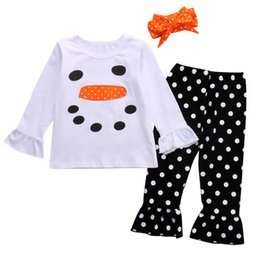 Wholesale Toddler Ruffle Shirts - 3PCS Set Christmas Kids Toddler Girls Snowman Ruffle Long Sleeve Tops T Shirt+Polka Dot Pants+Headband Outfits Clothes