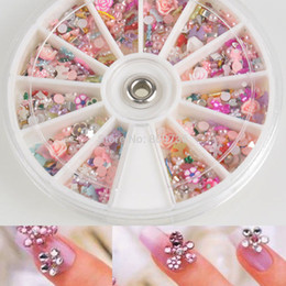 Wholesale Nail Art Mixed Glitter - Wholesale- 1200pcs Wheel 3D Flower Nail Art Decorations Mixed DIY Nail Glitter Shining Rhinestones Art Tips Decoration Tools + Display Hot
