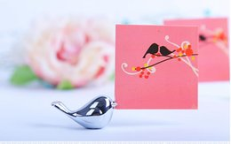 Wholesale Place Cards Birds - Love birds place card holder New design bird silver cute small name table card holder Wedding favor