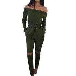 Wholesale Wholesale Female Rompers - Wholesale- Fashion Style Off-Shoulder Slash Neck Women Jumpsuit Summer Rompers Lace-Up Female Playsuit