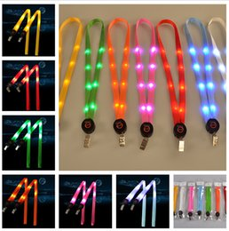 Wholesale Outdoor Cords - Newest Fashion Nylon Mixedcolors Led Flashing Lanyard ID Card Pendant Hanging Cord For Party, Shows and Outdoor Activities. Led Lighted toys