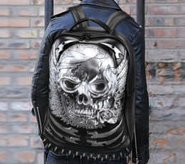 Wholesale Man Bag Skull - sales brand new trend high-grade leather bag man computer backpack schoolbag. Personality 3D stereo Street Style Leather Backpack skull and