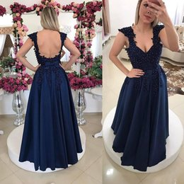 Wholesale Hot Sexy Chest - Hot Sale Long A Line Evening Dresses with Beaded Lace Decals 2017 Navy Queen Anne Backless Formal Wear Gowns Open Chest Prom Dresses