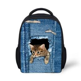 Wholesale Cute Denim Bags - 6 styles Cute Pet Dog Cat Print Denim School Bags For Girls,Animal Schoolbag Student Kids Boys Bookbags Children bagpack BG-20
