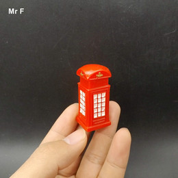 Wholesale Vintage Red Telephone - Funny Red Vintage Telephone Booth Model Craft Toy Gift Kid Micro Landscape Decoration Accessories Teaching Aids