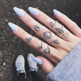 Wholesale Pic Jewelry - New Arrival Midi Rings Personality Exaggerated Gem Blue Stone Rudder Cross Jewelry 9 Pic Sets Women Vintage Joint Ring Set Punk Fashion