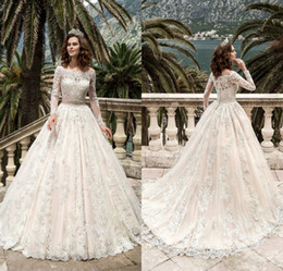 Wholesale Bridal Sashes Lace - 2017 Long Sleeve Full Lace Wedding Dresses Turkey Boat Neck A Line Country Western Sash Beads Wedding dress Bridal Gowns