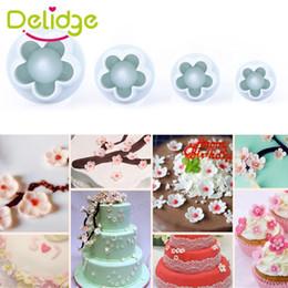 Wholesale Plum Flower Fondant Cutters - Delidge 3-4 Pcs Set Plum Flower Cookie Mold Flower Fondant Cake Decorating Mould SugarCraft Plunger Cutter Flower Mold