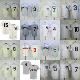 Wholesale Green New York Jersey - New York Yankees Jersey Vintage M&N Babe Ruth Lou Gehrig Joe DiMaggio Mickey Mantle Yogi Berra Roger Maris Phil Rizzuto Thurman Munson Home
