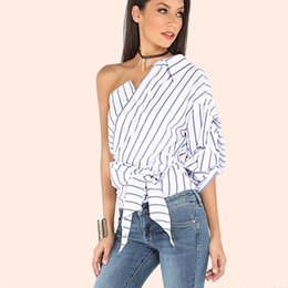 Wholesale Women Off Shoulder Puff Sleeve - 2017 Sexy one off shoulder women blouse Sexy cross bow tie white striped shirt Summer long sleeve ladies tops blouse