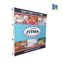 Wholesale Banner Pop Ups - 7.5ft Trade Show Fabric Pop up Display Banner Stand Wedding Backdrop Tension Fabric Frame Exhibition Wall with Graphic (without end cap)