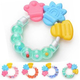 Wholesale Toy Ring Baby - Wholesale- 2017 new baby Infant Teething Circle Ring Baby Rattles Biting Toy Kid Cute Toy Baby Teether