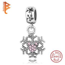 Wholesale 925 Silver Sterling Snowflake - BELAWANG Christmas Day Gift 925 Sterling Silver Beads Snowflake Shape Charms Pendant Fit Pandora Bracelets&Bangles DIY Jewelry Accessories