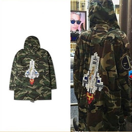 Wholesale Hooded Long Trench Coat Men - SLP Camouflage Rocket Jacket Men Women Kanye Brand Justin Bieber Trench Coats Men Patchwork Windbreaker Jackets Men SMS0047-4