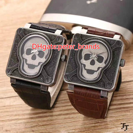 Wholesale Caribbean Fashions - High quality Pirates of the Caribbean Skull series men's watches, 46mm square stainless steel leather strap, fashion men's watches