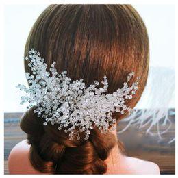 Wholesale Luxury Crystal Hair Clip - Luxury Bride Hair Combs Wedding Hair Accessories Clips Romantic Women Crystal Beads Hairwear HairPin Bridal Hair Jewelry Headdress