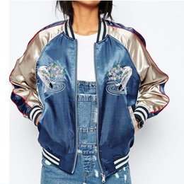 Wholesale Blue Carp - New Satin Embroidery Bomber Jacket Women Blue Carp Souvenir Casual Coat Baseball Outwear Fashion Tops sukajan DK463H Dropshipping