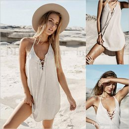 Wholesale Vacation Dresses - Woman Sexy Beach Dresses Backless Bikini Cover Ups Fashion Swimwear Casual Beachwear Vacation Holiday Beach Wear Bathing Suit Vestidos B1729