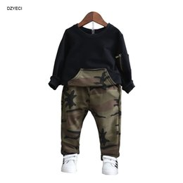 Wholesale Camouflage Pants For Kids - New Spring Baby Girl Boy Camo Set Boutique Clothes New Year Costume For Kid Children Sweatshirt T Shirt+Camouflage Pant 2PC Suit
