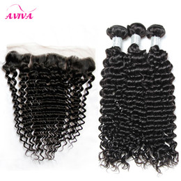 Wholesale Curly Brazilian Remy Hair Closure - Brazilian Curly Virgin Hair Weaves With Lace Frontal Closures 3 Bundles Peruvian Indian Malaysian Cambodian Deep Jerry Curly Remy Human Hair