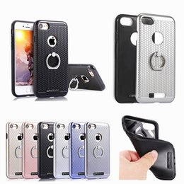 Wholesale Defender Plastic Case For Iphone - Hybrid Armor Defender Dual Layer Shockproof Ring Buckle Holder Stand Case Cover For Iphone 7 6 6S Plus 5S Samsung S7 Edge S7 Huawei Honor 8