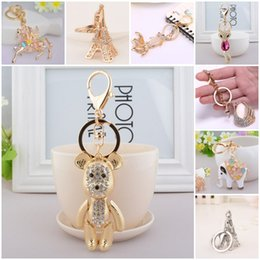 Wholesale New Trendy Ornaments - New Style Keychain Key Ring Horse Fish Eiffel Tower Bear Fox Rhinestone Pendant Key Chain Purse Drop Ornament For Women & Girls C150Q