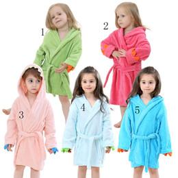 Wholesale Wholesale Velvet Pajamas - Animal bathrobe pajamas Kids dinosaur Robes cartoon Nightgown Children Towels Hooded Coral velvet bathrobes C2427