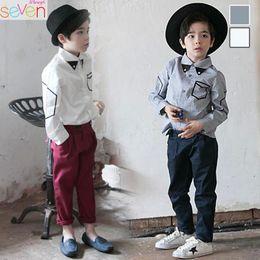 Wholesale Korean Baby Boy Outfits - Korean Boys Kids Clothes sets 2pcs shirt+ trousers England Style Preppy Style Kids Outfits baby Best Suits Boys Clothing Children Wear A985